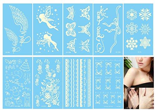 Xstrong White Waterproof Temporary Tattoo - Body Transfer Tattoos Stickers - 9 Sheets - for Women & Girls - 50 Designs Wing, Angel, Butterfly, Snowflake, Flower, Christmas, Bracelets, Fingers etc - Angel Tattoos Women