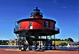 Historic Knoll Lighthouse, Red, Inner Harbor, Nautical Art, Coastal Art, Blue, Museum Quality Poster