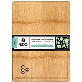 "Extra Large Single Piece Surface Bamboo Wood Cutting and Chopping Board 18x13"" with Drip Groove by Eco Kitchenware"