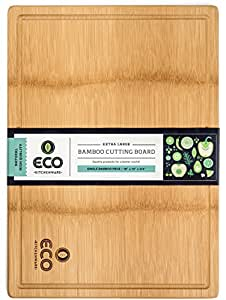 "Extra Large Single Piece Bamboo Wood Cutting and Chopping Board 18x13"" with Drip Groove by Eco Kitchenware"