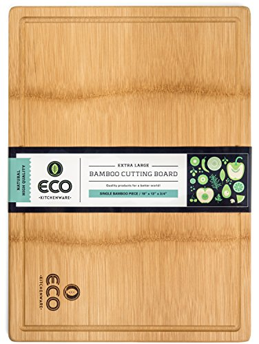 Extra Large Single Piece Bamboo Wood Cutting and Chopping Board 18x13