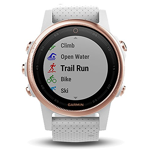 Garmin fenix 5S Sapphire (Rose Gold with White Band) Gift Box Bundle | Includes Glass Screen Protector, PlayBetter USB Car/Wall Adapters, Hard Protective Case | Multi Sport Watch, Wrist HR | Gift Box