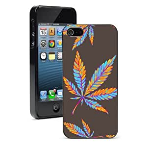 Apple iPhone 4 4S 4G Black 4B403 Hard Back Case Cover Color Marijuana Leaves Pattern