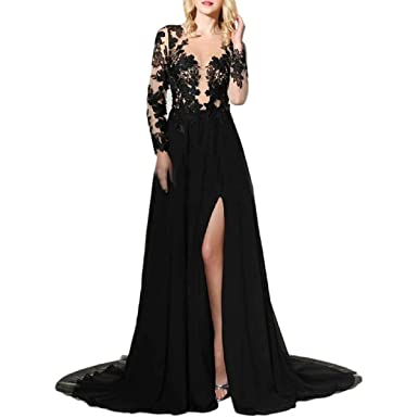 LastBridal Women Sheer Lace High Slit Long Sleeves Prom Dresses Long 2018 Formal Evening Party Gowns
