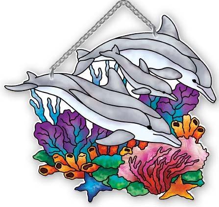 (Playful Dolphins Water-cut Suncatcher by Joan Baker)