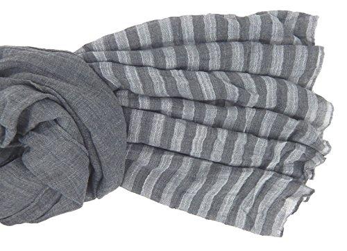 Foulard Écharpe pour femme élégant et tendance de la dernière collection by Ella Jonte gris à rayueres - léger et très agréable à porter