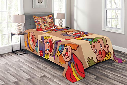 Circus Quilt Set - Lunarable Circus Bedspread Set Twin Size, Funny Clowns Illustration Print Entertaining Childhood Artistic Joke Enjoyment Theme, Decorative Quilted 2 Piece Coverlet Set Pillow Sham, Coral Red