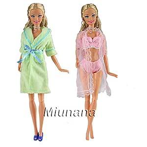 Miunana 2x Pijamas=1 Verde Camisón + 1 Rosado Traje de Pijama ...