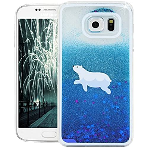 KAWOO 3D Bling Shiny Glitter Sparkle Stars Flowing Floating Liquid Quicksand Clear Hard Case Cover for Samsung Galaxy S7 Blue polar bear Sales