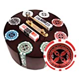 Brybelly 200 Heavy Holographic 14 Gram Ultimate Poker Chips and Wooden Carousel