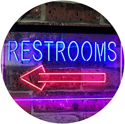 ADV PRO Restroom Arrow Point to Left Toilet Dual Color LED Enseigne Lumineuse Neon Sign Rouge et Bleu 600 x 400mm st6s64-j2685-rb