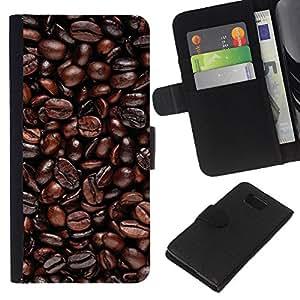 LECELL--Cuero de la tarjeta la carpeta del tirón Smartphone Slots Protección Holder For Samsung ALPHA G850 -- Granos de café --