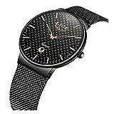 Mens Watches Fashion Ultra Thin Light Analog Quartz Watch Men Luxury Brand LIGE Waterproof Steel Watches Black Calendar Business Mesh Wrist Watch