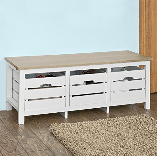 SoBuy FSR32 L WN Modern Design Storage Bench,Shoe Bench,Hallway Bench Shoe  Cabinet