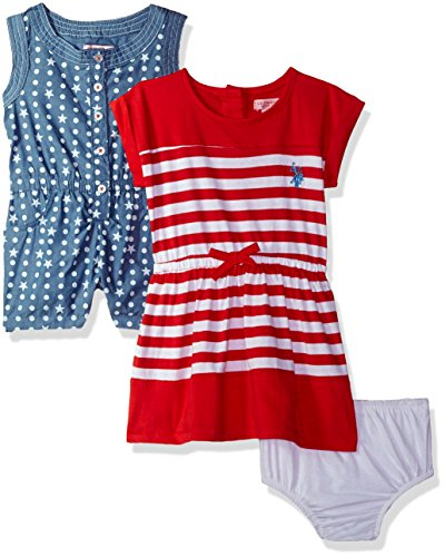 (U.S. Polo Assn. Baby Girls Multi, Pack Stars Romper Striped Knit Dress Engine red, 6-9 Months)