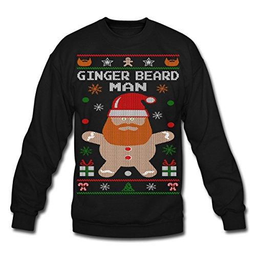 Spreadshirt Ginger Beard Man Ugly Christmas Sweater Crewneck Sweatshirt, S, Black