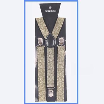 Sanvn MEN Women Clip on Suspenders Elastic Y-shape Braces Solids Adjustable Elastic