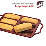 KeepingcooX 6-Hole Non-Stick Mini Loaf Tin/Cake Pan With Handles, Steel Frame to Anti-deformed, 12.8 x 7.09 in Nonstick Bakeware