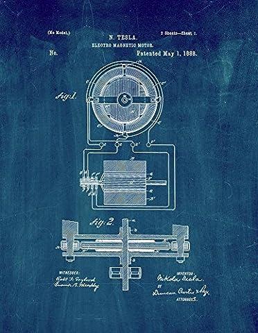 Tesla Electro-magnetic Motor Patent Print Art Poster Midnight Blue (8.5