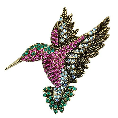 Reizteko Antique Gold Tone Bird Hummingbird Multi Color Crystal Pin Brooch (Multicolored)
