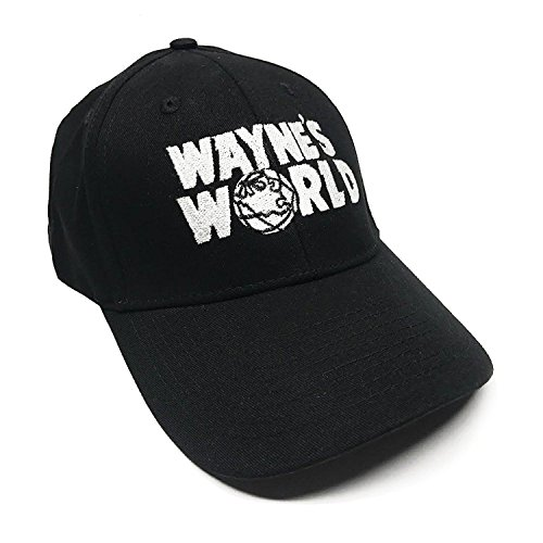 DirtyRagz Wayne's World Adult Velcro Adjustable Black Baseball Hat - Wig Waynes Garth World
