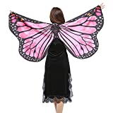 NUWFOR Christmas/Party Prop Soft Fabric Butterfly Wings Shawl Fairy Ladies Nymph Pixie Costume Accessory?B-hot Pink?One Size?