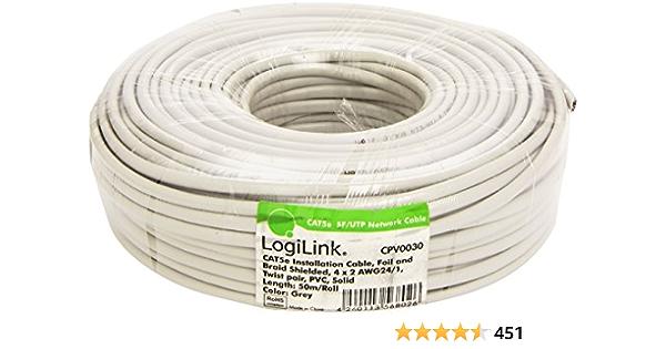 LogiLink CPV0030 Cable de instalación Cat5e SFTP, Gris, 50 m