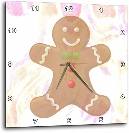 3dRose DPP_42707_3 Pastels Gingerbread Man Cookie Art Wall Clock, 15 by 15