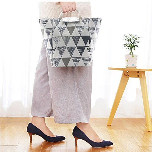 Linkes Reusable Printed Lunch Bag, Non-Toxic Eco-Friendly Canvas Fabric Insulated Waterproof Aluminum Foil, Lunch Box Tote Handbag for Women, Students Bento Cooler Bag ( Grey Triangle Pattern) (Link Foil)