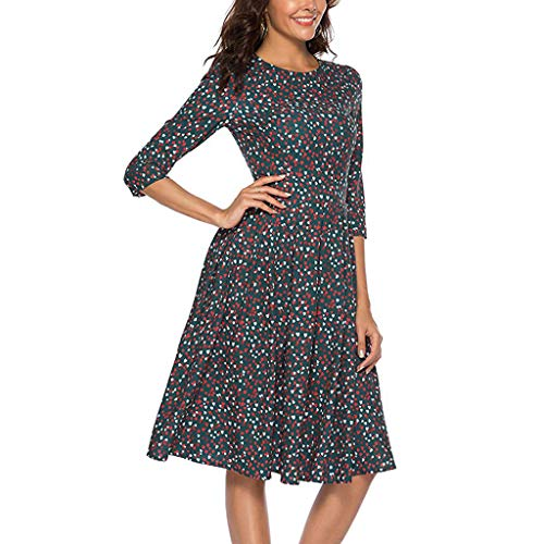 Short Dress for Party Night,Women's Three Quarter Sleeve Floral Vintage Dress Elegant Midi Evening Dress, -