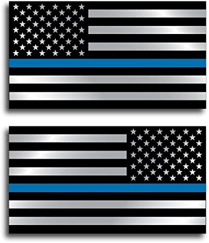 2 pack Police Officer American Flag Thin Blue Line DECAL STICKER Blue Lives