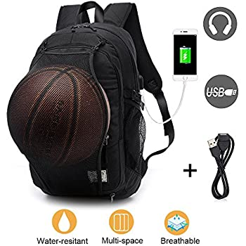 Laptop Backpack for Men Boys, Lightweight Water Resistant College Basketball Backpack with USB Charging Port and Headphone Port, Sports Computer Bag Fits ...