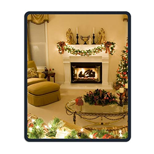 Holiday Christmas Tree Lights Ornaments Fireplace Gift Customized Non-Slip Rubber Mousepad Gaming Mouse Pad – 8.66 x 7.08 inch