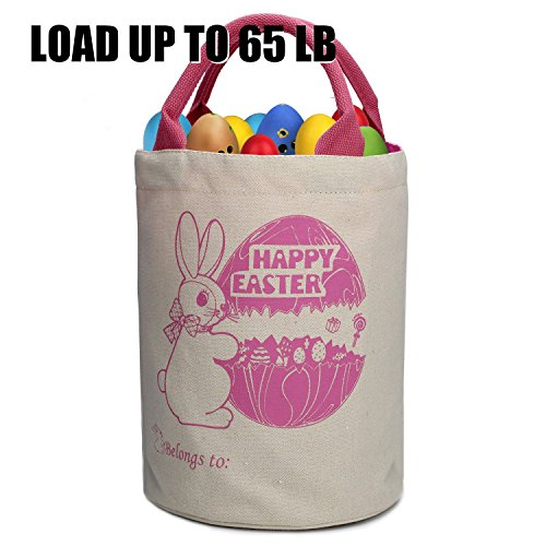 Cylinder Bunny Bag Easter Bag Dual Layer Canvas Bag With Bunny Design Easter Egg Hunt Basket Carrying Eggs Gifts for Bunny Fans Holding Toys Books School Project Lunch Box-Cylinder Bag-B4
