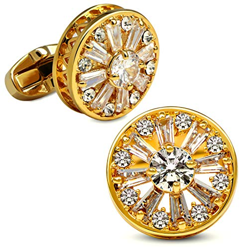 VIILOCK 18K Gold Painting with Super Shiny Crystal Cufflinks for Men and Women Wedding Business Cuff Links Gift Mens