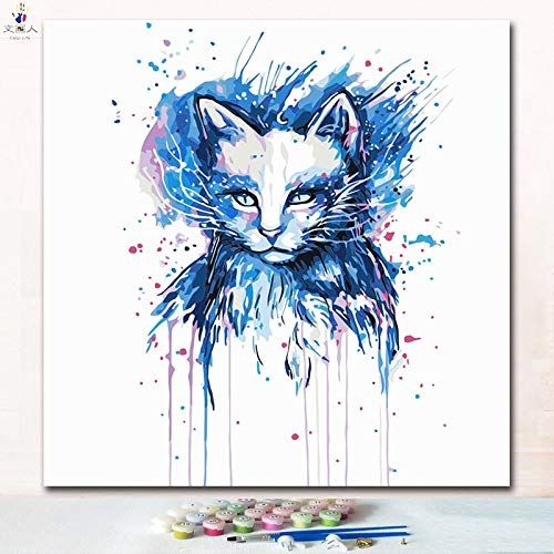 50x50 with frame 7136 cat9 KYKDY Cut Animal Doctor Cat Digital Oil Painting coloring Numbers Pictures by Numbers on Canvas with Paint colors for Kids prac,7265 cat13,50x50 no Frame