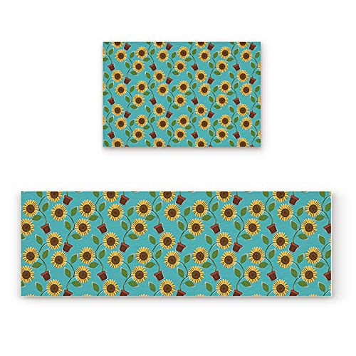 (YGUII Cute Sunflower Potted Green and Yellow 2 Piece Doormat Hallway Kitchen Runner Rug Carpet (Non-Slip) Rubber Backing Area Rug Set Floor Mat)