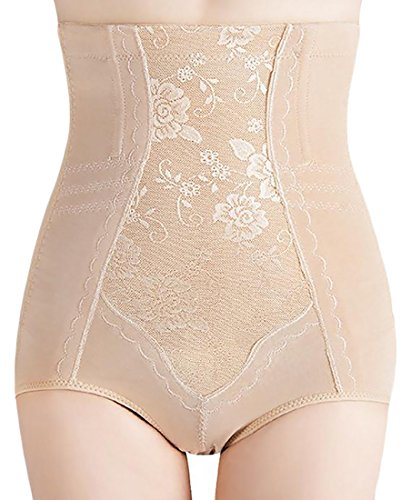 Fulok Womens High Waist Brief,Tummy Control Butt Lifter Shapewear Panty Apricot 5X-Large