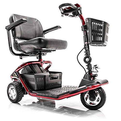 3 Wheel Compact Mobility Scooter (LiteRider 3-Wheel Folding Travel Mobility Scooter GL111+ Service Plan (RED))