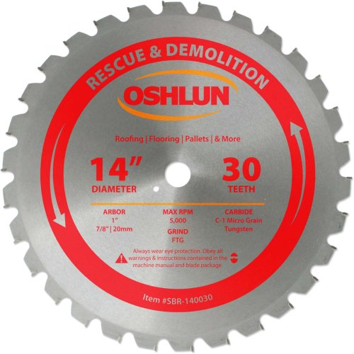 (Oshlun SBR-140030 14-Inch 30 Tooth FTG Saw Blade with 1-Inch Arbor (7/8-Inch and 20mm Bushings) for Rescue and Demolition)
