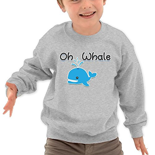 Price comparison product image Puppylol Oh Whale Kids Classic Crew-neck Pullover Hoodie Ash 5-6 Toddler