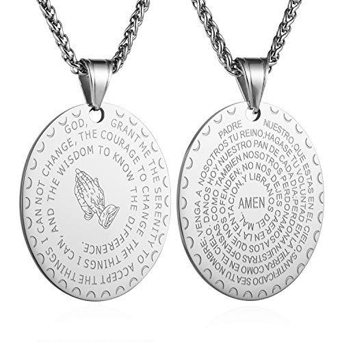 HZMAN Bible Verse Prayer Necklace Christian Jewelry Gold Stainless Steel Praying Hands Coin Medal Pendant (Oval - Silver)