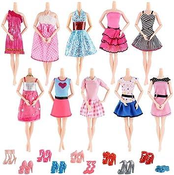 Aitefeir Abiti Barbie 20 Articoli Inclusi 10 Pezzi Moda Casual Con 10 Paia Di Scarpe Per Barbie Doll Christmas Xmas Gift Amazon It Giochi E Giocattoli