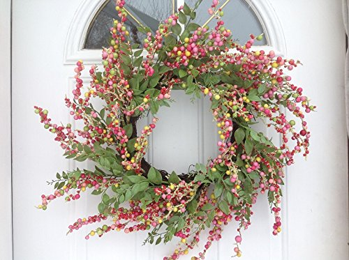 Colorful Berries Wreath, 24 Inches Diameter with Greenery