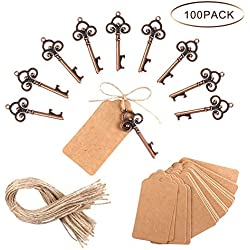 PartyTalk 100pcs Wedding Favors Skeleton Key Bottle Opener with Escort Tag Card and Twine for Guests, Antique Keys Rustic Christmas Party Decorations
