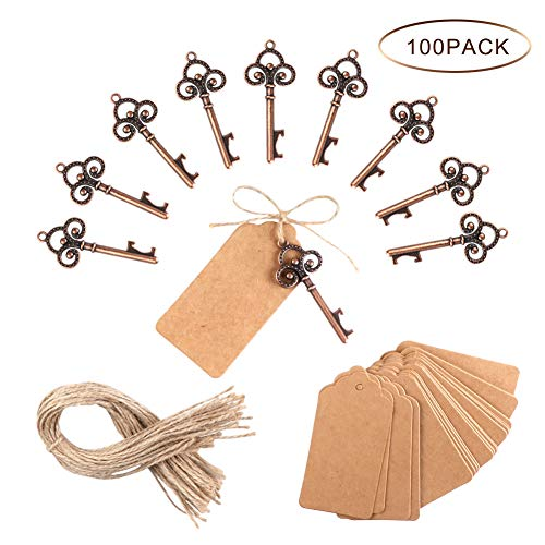 PartyTalk 100pcs Wedding Favors Skeleton Key Bottle Opener with Escort Tag Card and Twine for Guests, Antique Keys Rustic Christmas Party -