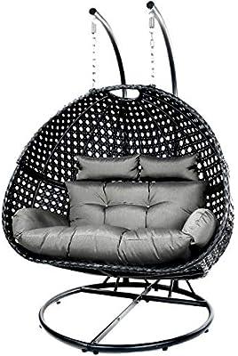 Black Double Seat Swing Chair Outdoor Furniture Hanging Pod Egg Wicker Amazon Com Au Lawn Garden