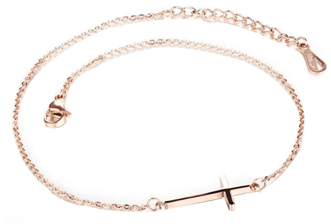 AZYOUNG 316L Stainless Steel Rose Gold Plated Cross Pendant Anklet,9+2''
