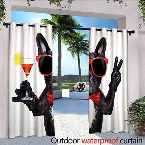 cobeDecor Funny Exterior/Outside Curtains French Bulldog Holding Martini Cocktail Ready for The Party Nightlife Joy Print for Patio Light Block Heat Out Water Proof Drape W120 x L96 Black Red White