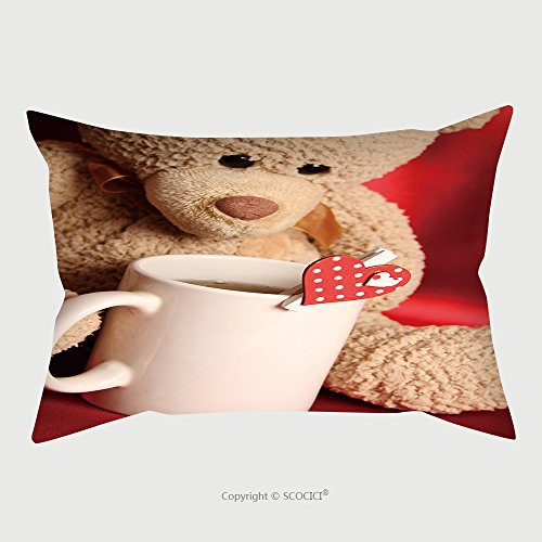 Custom Satin Pillowcase Protector Teddy Bear With A Big White Cup Of Tea And A Red Heart 125543408 Pillow Case Covers Decorative by chaoran